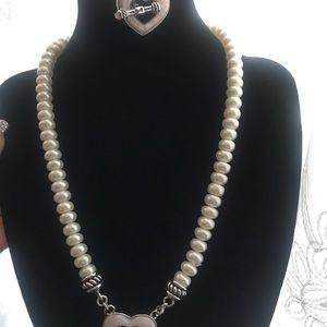 Mandarin cultured pearl necklace & bracelet